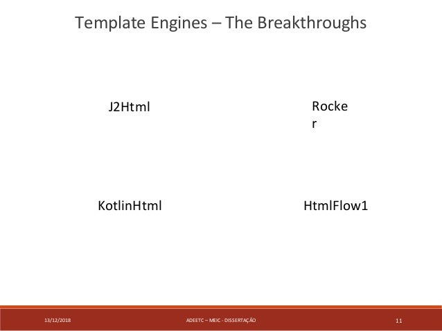 13/12/2018 ADEETC – MEIC - DISSERTAÇÃO 11 Template Engines – The Breakthroughs J2Html KotlinHtml HtmlFlow1 Rocke r
