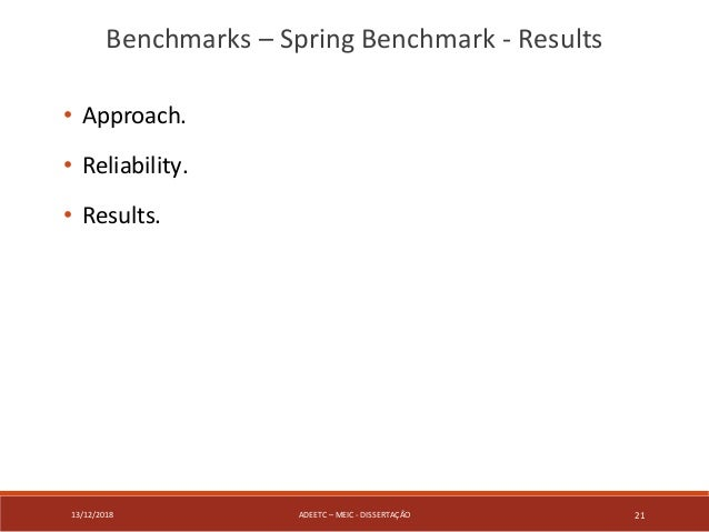 13/12/2018 ADEETC – MEIC - DISSERTAÇÃO 21 • Approach. • Reliability. • Results. Benchmarks – Spring Benchmark - Results