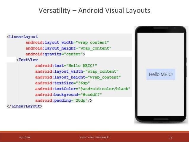 13/12/2018 ADEETC – MEIC - DISSERTAÇÃO 26 Versatility – Android Visual Layouts