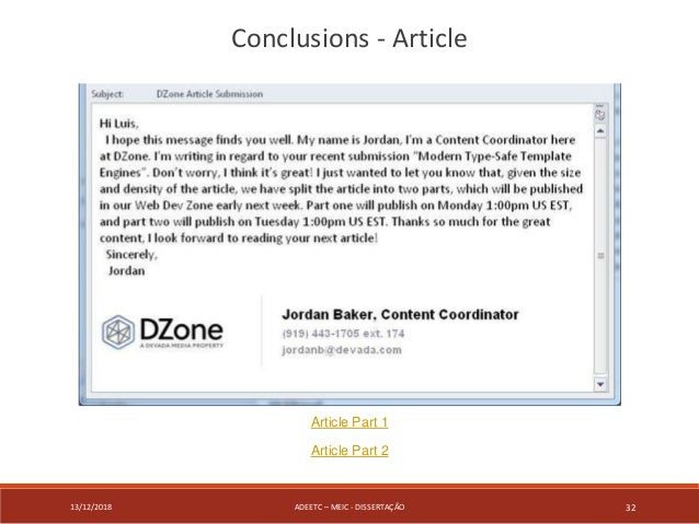 13/12/2018 ADEETC – MEIC - DISSERTAÇÃO 32 Conclusions - Article Article Part 1 Article Part 2