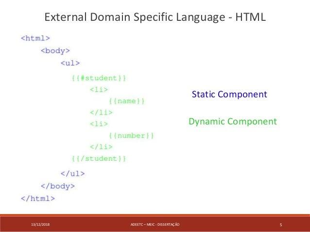 13/12/2018 ADEETC – MEIC - DISSERTAÇÃO 5 External Domain Specific Language - HTML Static Component Dynamic Component