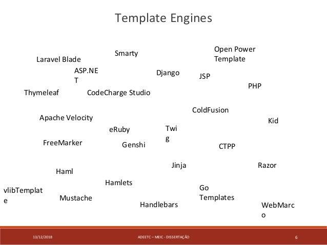 13/12/2018 ADEETC – MEIC - DISSERTAÇÃO 6 Template Engines Apache Velocity ASP.NE T Laravel Blade CodeCharge Studio ColdFus...