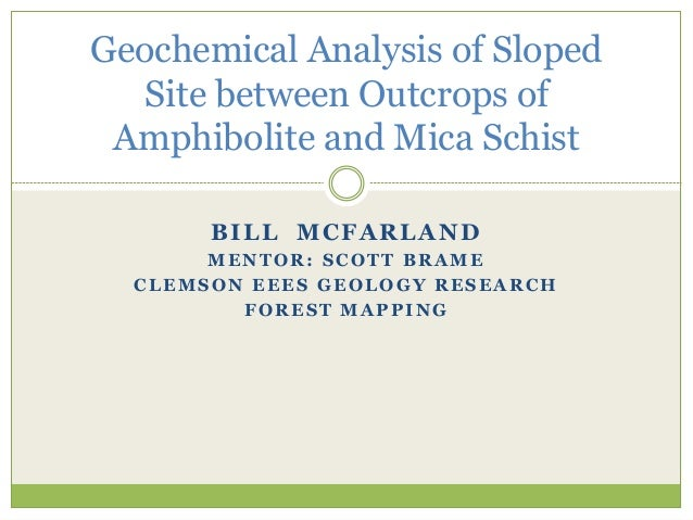 BILL MCFARLAND MENTOR: SCOTT BRAME CLEMSON EEES GEOLOGY RESEARCH FOREST MAPPING Geochemical Analysis of Sloped Site betwee...