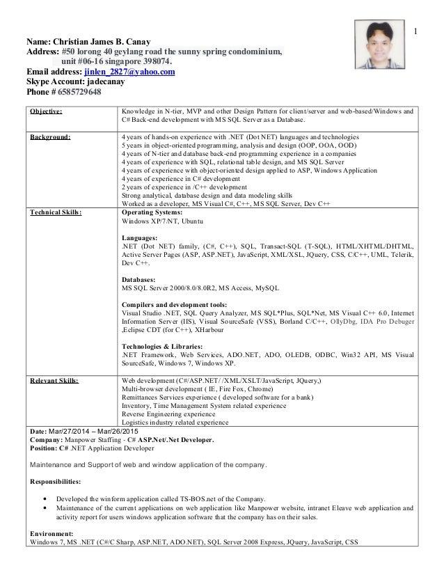 C  Free Resume Examples