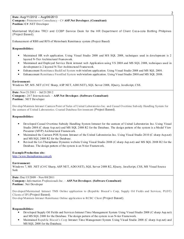 latest resume cc developer - Net Developer Resume