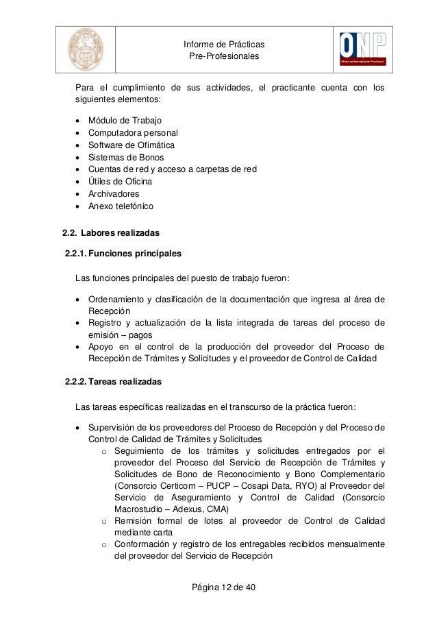 Informe De Practicas Pre Profesionales Cevallos Vera Franco Alex