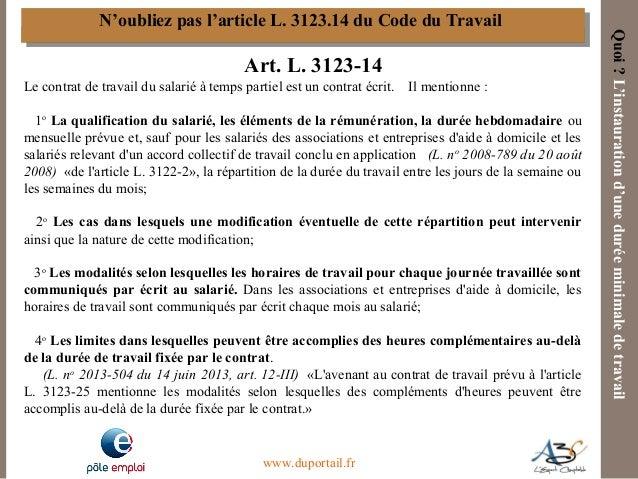A3c Le Contrat De Travail A Temps Partiel Au Regard De La Loi De Se