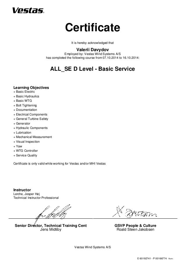 D-level Course Certificate PDF