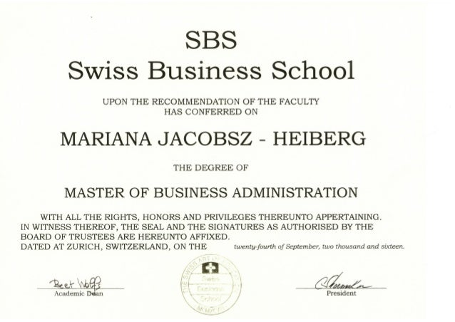 Business Administration Degree >> Mba Master Degree In Business Administration Certificate