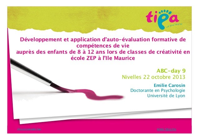 Développement et application d'auto-évaluation formative de compétences de vie auprès des enfants de 8 à 12 ans lors de cl...
