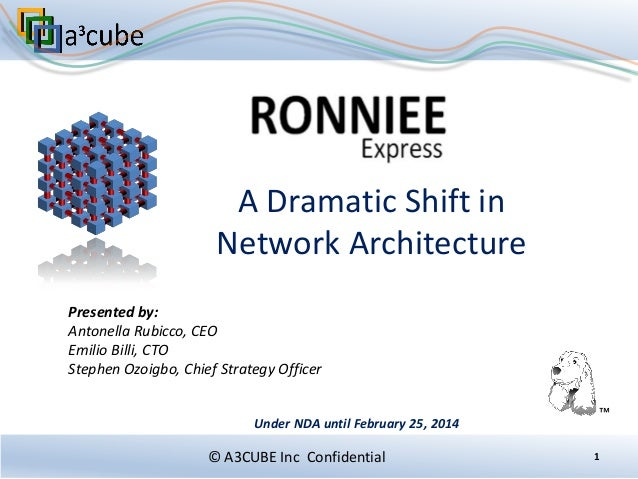 A Dramatic Shift in Network Architecture Presented by: Antonella Rubicco, CEO Emilio Billi, CTO Stephen Ozoigbo, Chief Str...