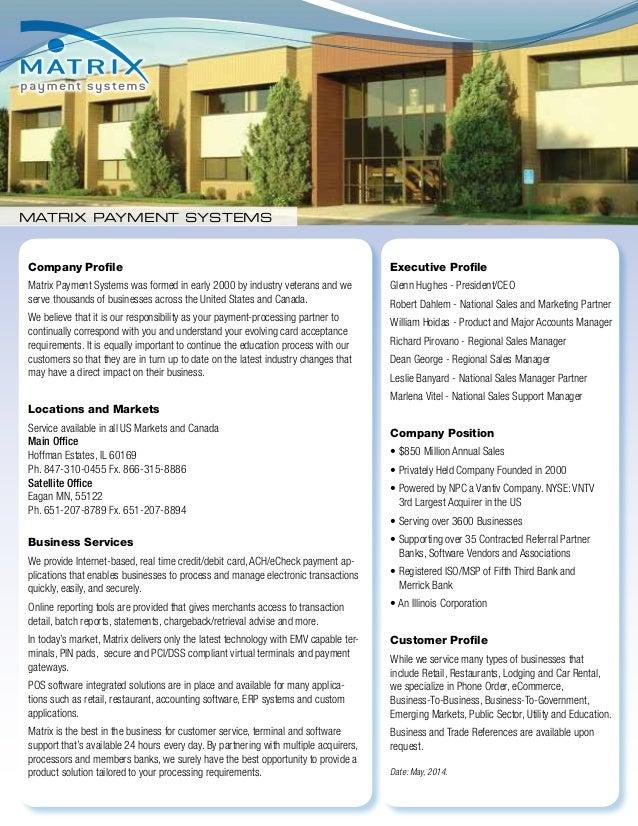 Matrix Company Spec Sheet