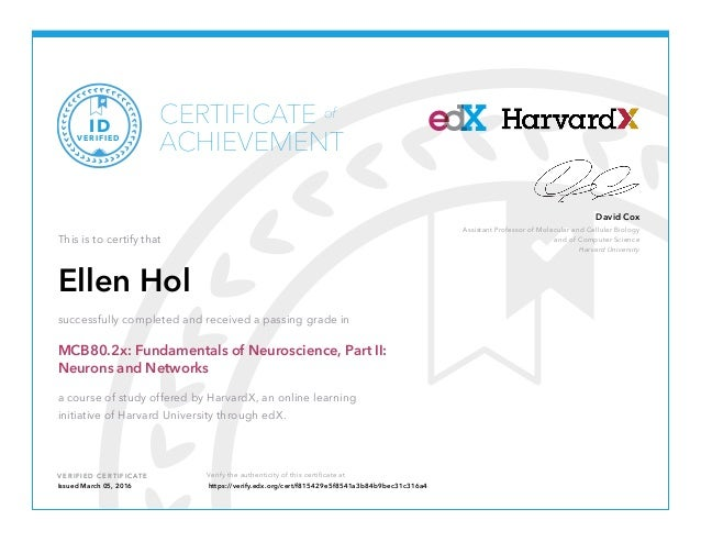 Certificate edX Neuroscience Part 2