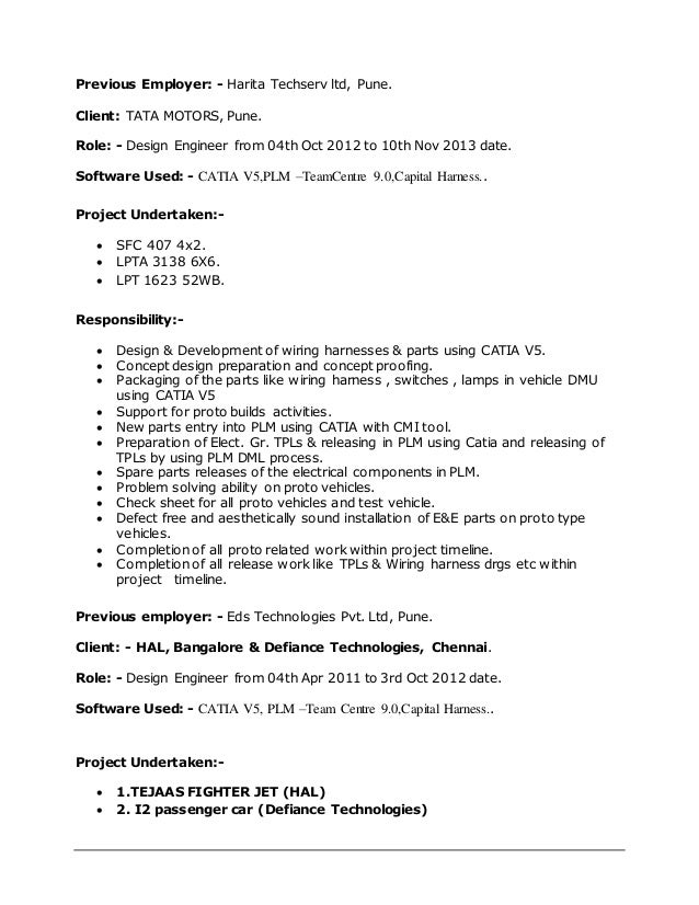 2 - Harness Design Engineer Sample Resume