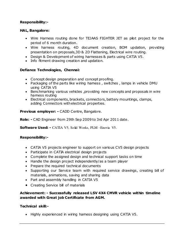 i2 passenger car defiance technologies 3 - Harness Design Engineer Sample Resume