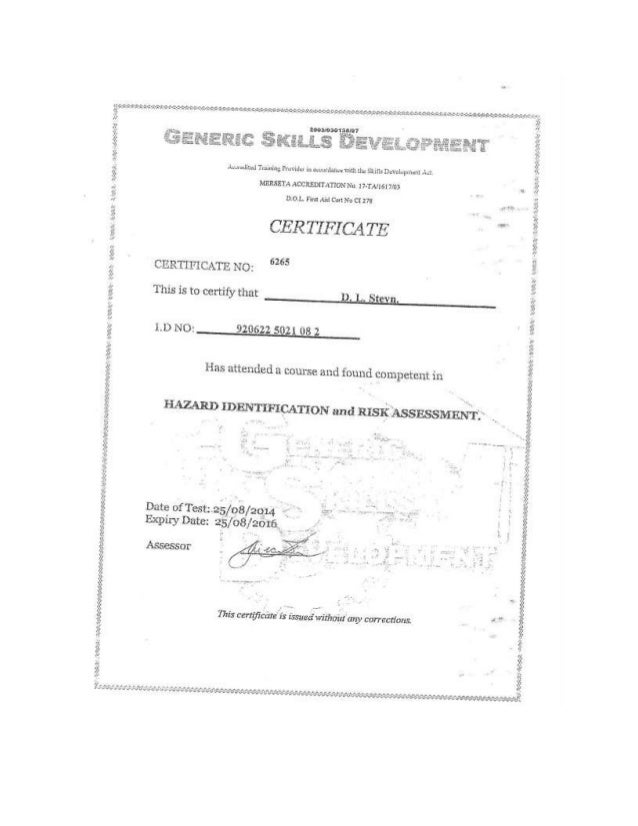 Hazard Identification & Risk Assessment Certificate