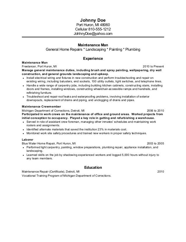 Maintenance Former Inmate Resume