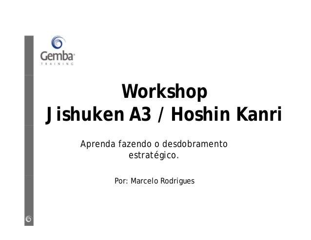 Workshop Jishuken A3 / Hoshin Kanri Aprenda fazendo o desdobramento estratégico. Por: Marcelo Rodrigues