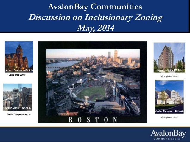 AvalonBay Communities Discussion on Inclusionary Zoning May, 2014 Avalon Danvers – 433 Apts. Completed 2008 Avalon Exeter ...