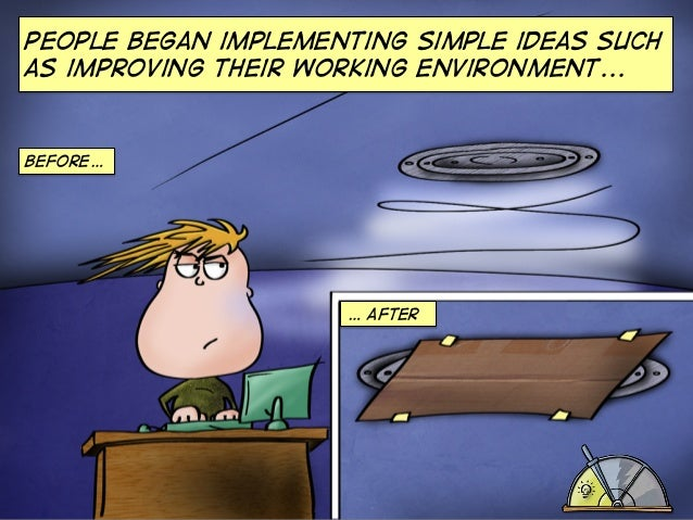 People began implementing simple ideas such as improving their working environment...  Before…  … AFTEr