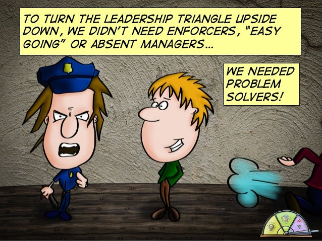 """To turn the leadership triangle upside down, we didn't need enforcers, """"easy going"""" or absent managers… we needed problem ..."""