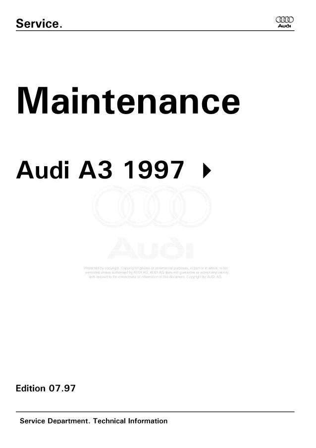 A3 1997 AUDI maintenance