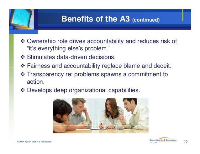 """Benefits of the A3 (continued)  Ownership role drives accountability and reduces risk of """"it's everything else's problem ..."""