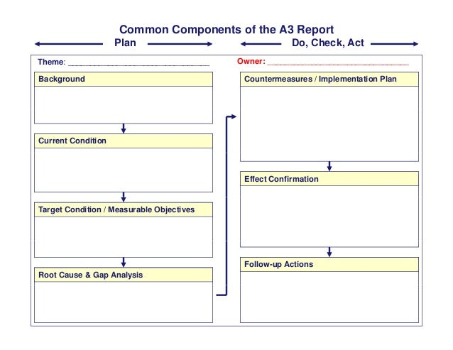 Common Components of the A3 Report Theme: Owner: Plan Do, Check, Act Theme: ________________________________ _____________...