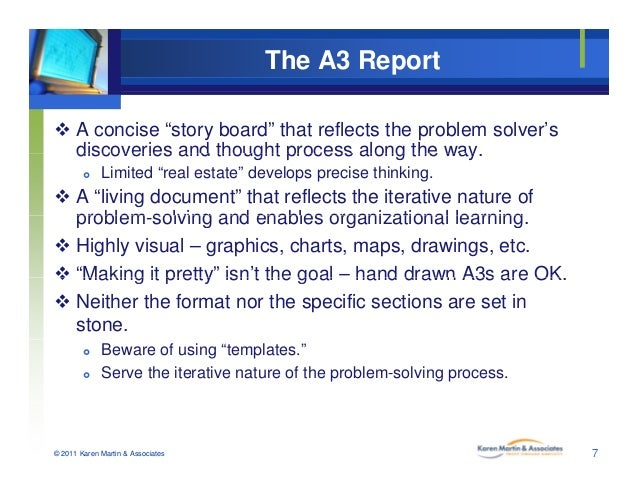"""The A3 Report  A concise """"story board"""" that reflects the problem solver's discoveries and thought process along the waydi..."""