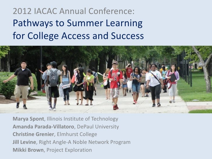 2012 IACAC Annual Conference:Pathways to Summer Learningfor College Access and SuccessMarya Spont, Illinois Institute of T...