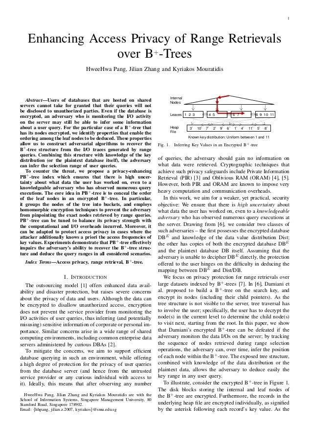 1 Enhancing Access Privacy of Range Retrievals over B+ -Trees HweeHwa Pang, Jilian Zhang and Kyriakos Mouratidis Abstract—...