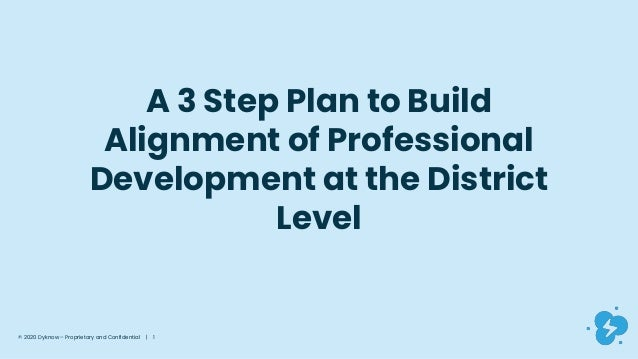 © 2020 Dyknow – Proprietary and Confidential | 1 A 3 Step Plan to Build Alignment of Professional Development at the Distr...