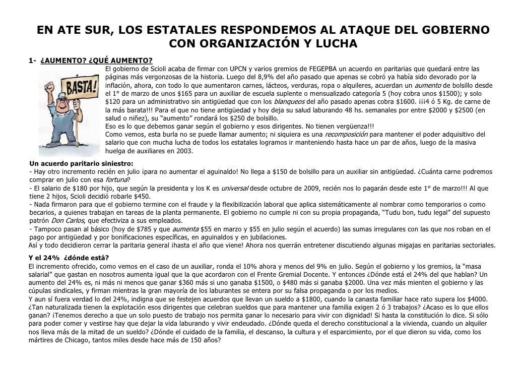 EN ATE SUR, LOS ESTATALES RESPONDEMOS AL ATAQUE DEL GOBIERNO                      CON ORGANIZACIÓN Y LUCHA 1- ¿AUMENTO? ¿Q...