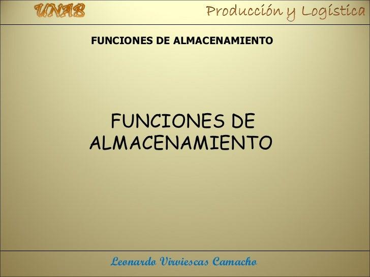 FUNCIONES DE ALMACENAMIENTO  FUNCIONES DEALMACENAMIENTO  Leonardo Virviescas Camacho