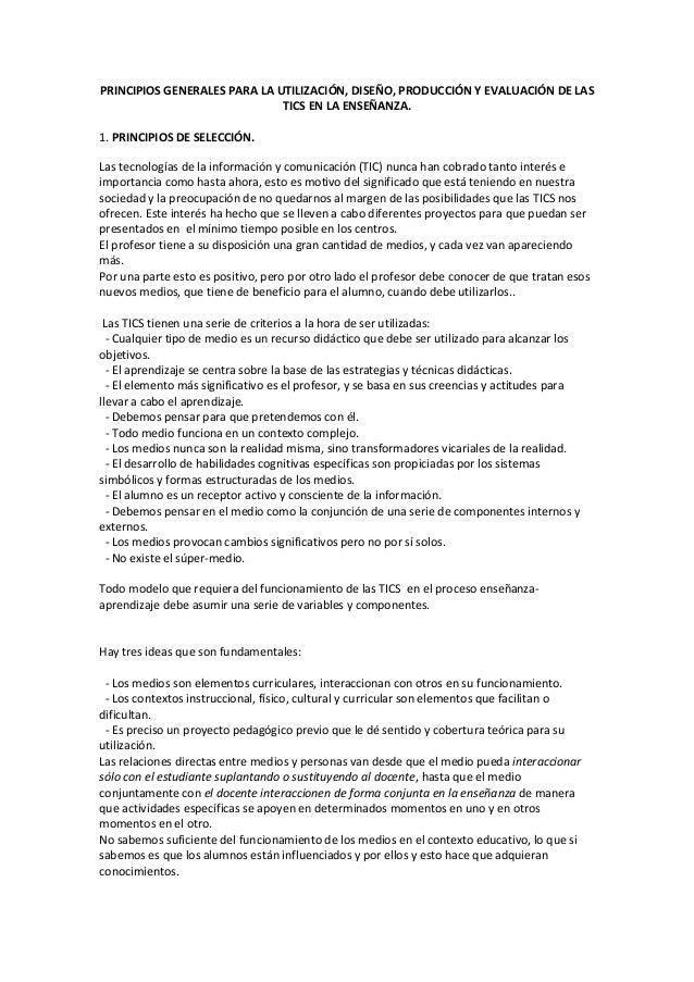 PRINCIPIOS GENERALES PARA LA UTILIZACIÓN, DISEÑO, PRODUCCIÓN Y EVALUACIÓN DE LASTICS EN LA ENSEÑANZA.1. PRINCIPIOS DE SELE...