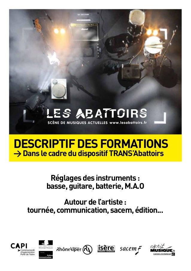 DESCRIPTIFDESFORMATIONS >DanslecadredudispositifTRANS'Abattoirs Réglagesdesinstruments: basse,guitare,batterie,M.A.O Autou...