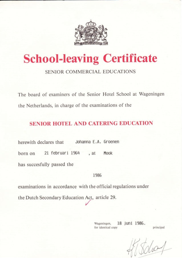 diploma middelbare vakschool wageningen the the school ieaving certific ate senior commercial educaiions board of examiners of the senior
