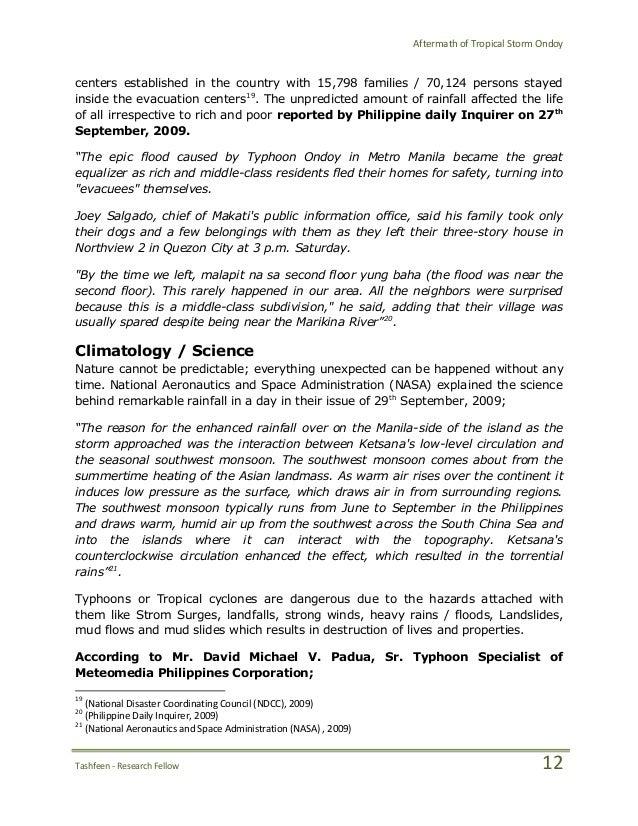 Typhoon Ondoy Essay Sample