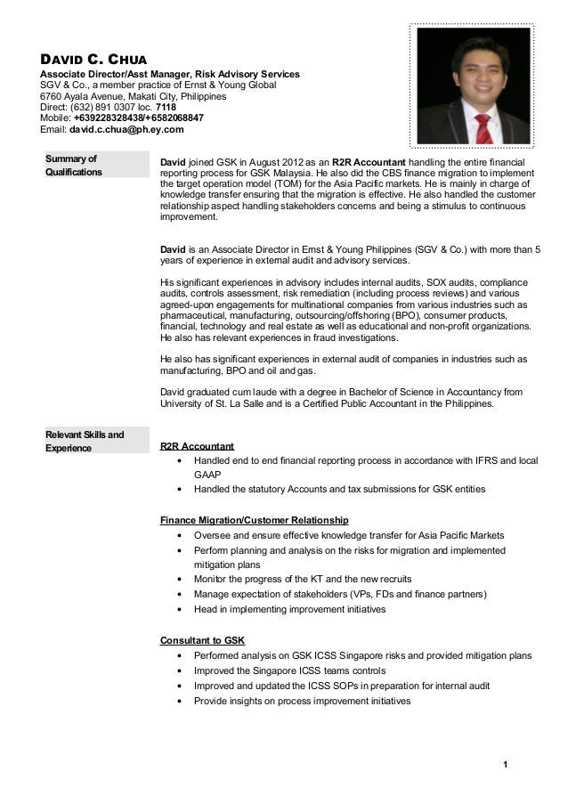 Cv template david chua for Ernst and young resume sample