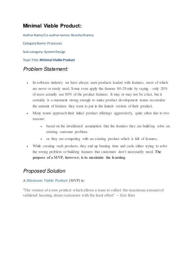 Minimal Viable Product: AuthorName/Co-authornames:ReechaSharma CategoryName:Processes Sub-category:SystemDesign TopicTitle...