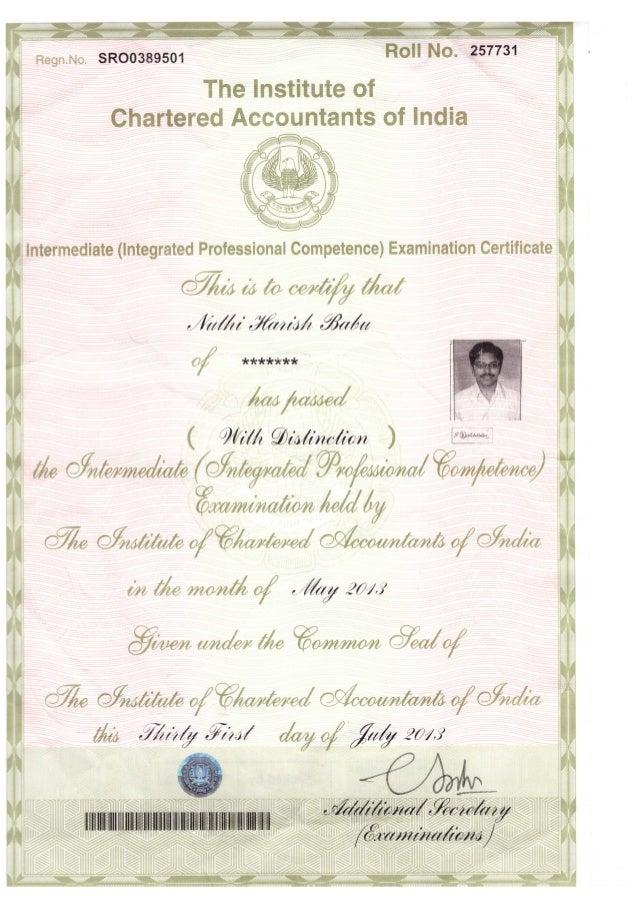 inter certificate CA INTER PASS CERTIFICATE