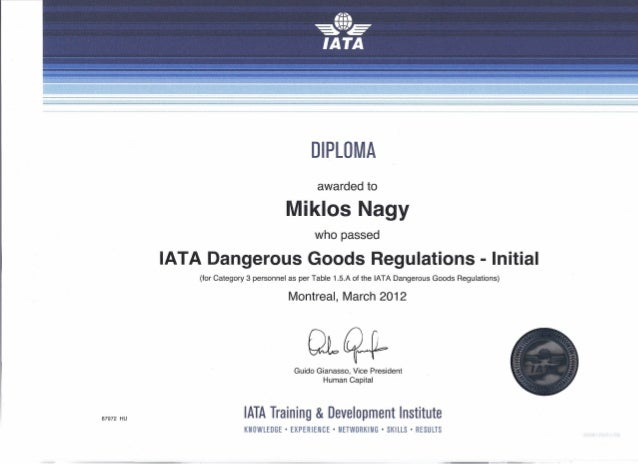 iata dgr diploma nm diploma awarded to miklos nagy who passed iata dangerous goods regulations initial for category