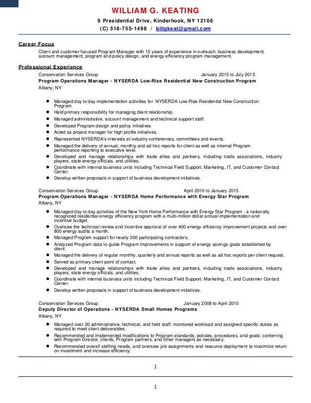 Bill Keating Resume 7-10-15