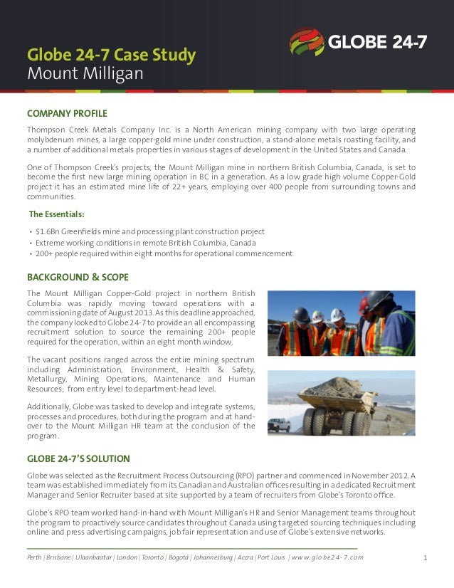 Globe 24 7 case study developing a major metal mine in canada for 123 adelaide terrace perth