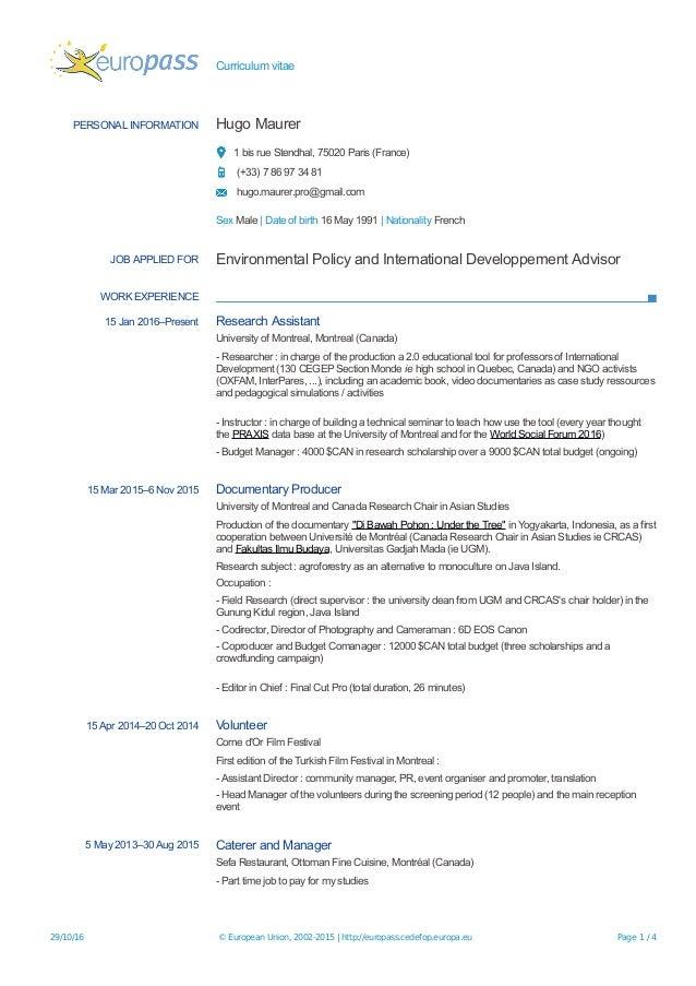 europass cv editor CV Europass 2016 Hugo Maurer EN