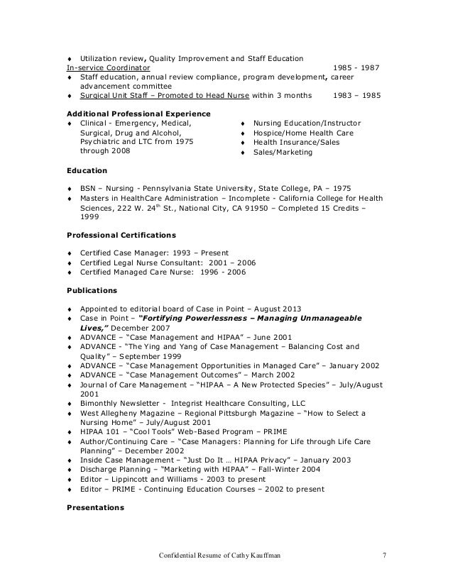 resume of cathy kauffman 6 7 certified legal nurse resume - Certified Legal Nurse Resume