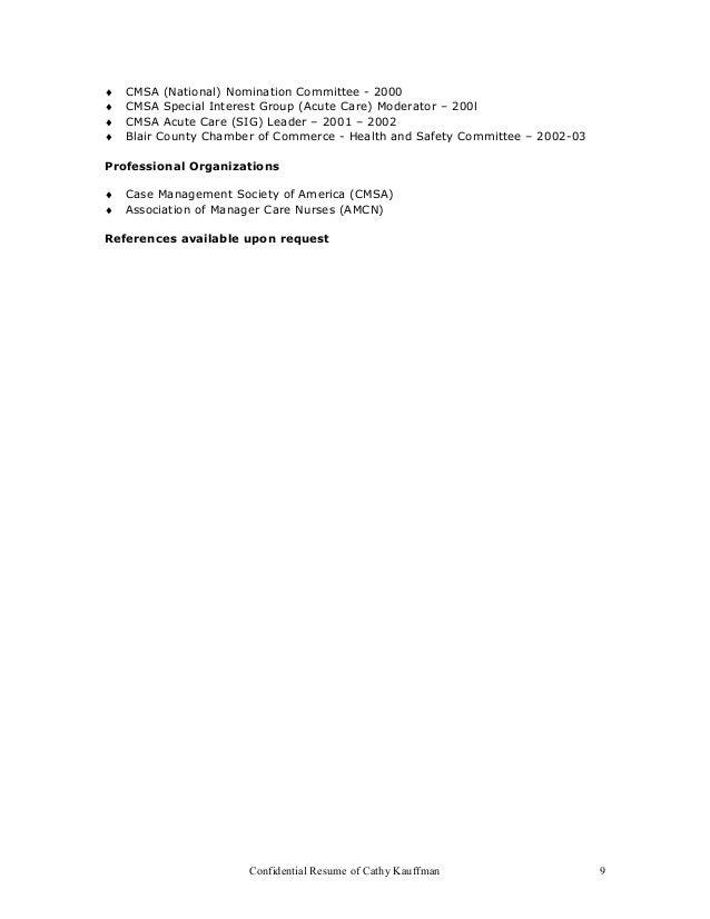 resume of cathy kauffman 8 9