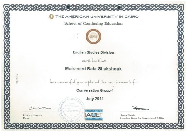 American University In Cairo CertificatePdf