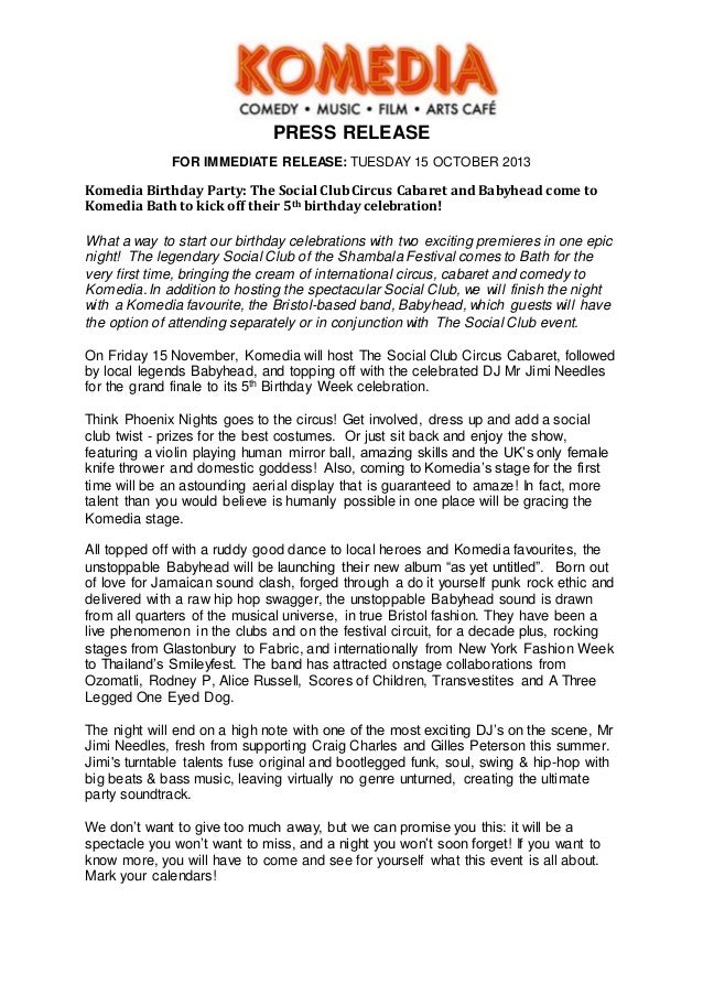 Social club cabaret babyhead press release draft press release for immediate release tuesday 15 october 2013 komedia birthday party the social thecheapjerseys Gallery