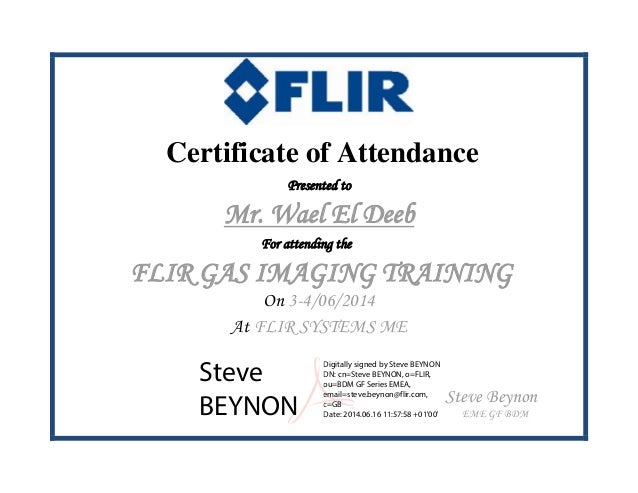 FLIR Certificate of Attendance Gas Imaging Training